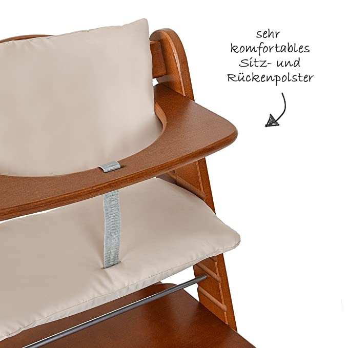 Hauck - Cojín Deluxe para Trona Alpha - 2 piezas - Asiento acolchado / Reductor de asiento / Almohadilla para silla alta (Beige)