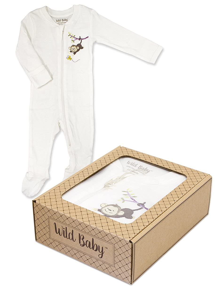 Monkey WILD BABY Organic Cotton Zippered Baby Footie with Gift Box