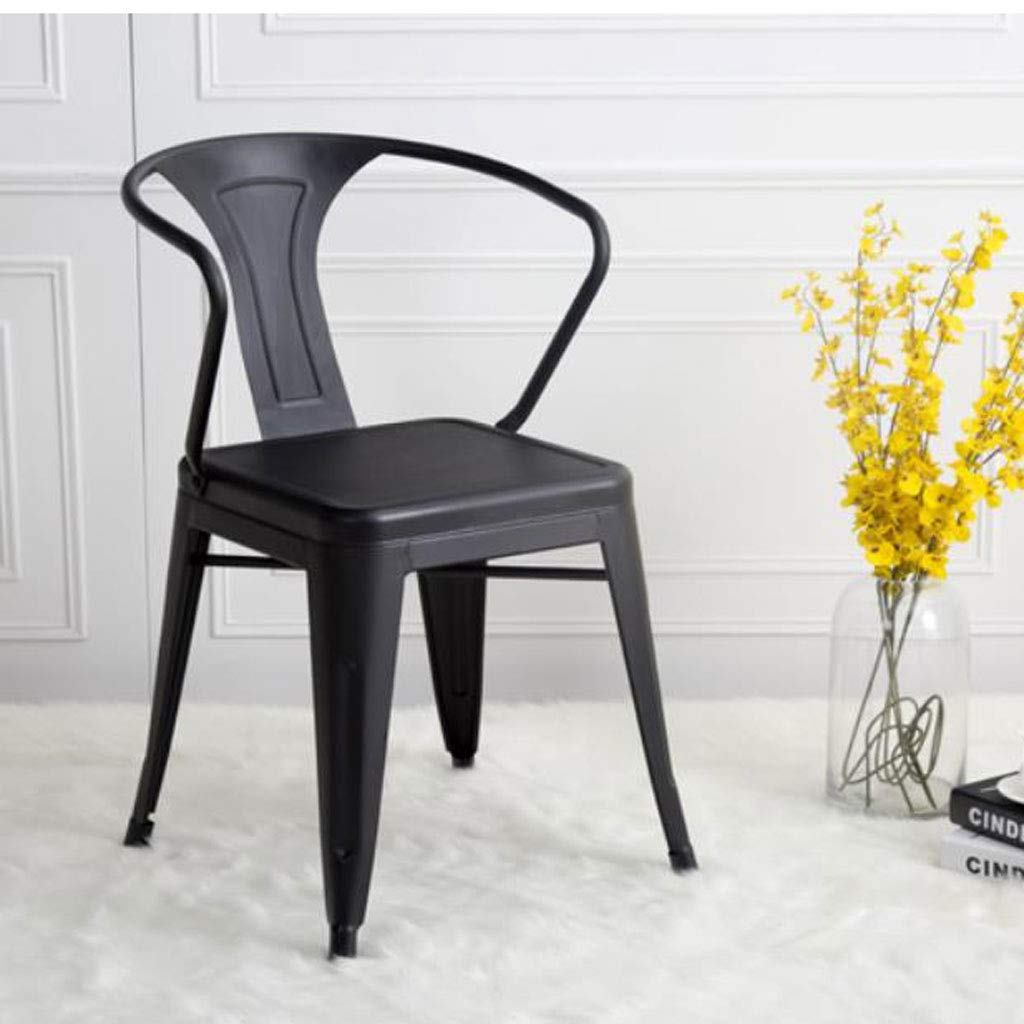 H Barstools, Retro Simple Restaurant Solid Wood Wrought Iron Chair Office Study Front Bar with Tea Shop Chair (Size   A)