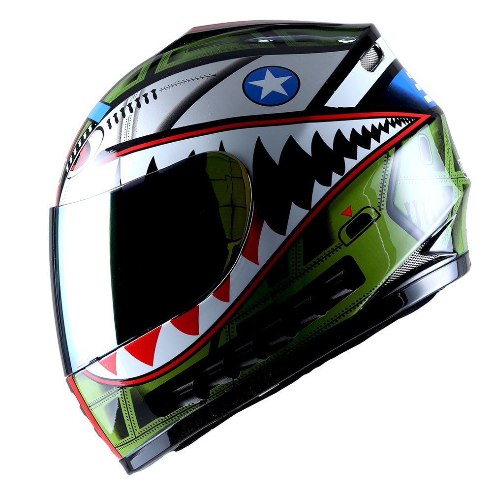 WOW Motorcycle Full Face Helmet Street Bike BMX MX Youth Kids Shark Black