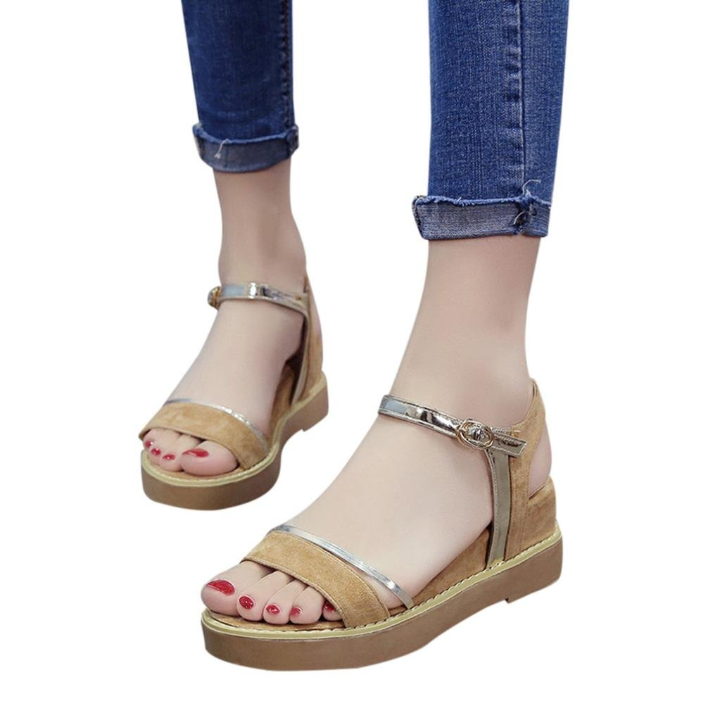 ed83a7f12f7b Women Sandals Platform Summer Increase Muffin Fish Head Simple Shoes  Yellow  Amazon.ca  Clothing   Accessories