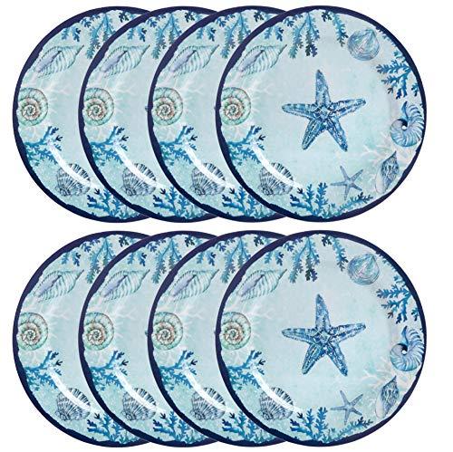 Plate 10.5 Melamine (Blue Ocean Starfish Lightweight Melamine Dinner Plates, 10.5-inch Diameter (Set of 8))