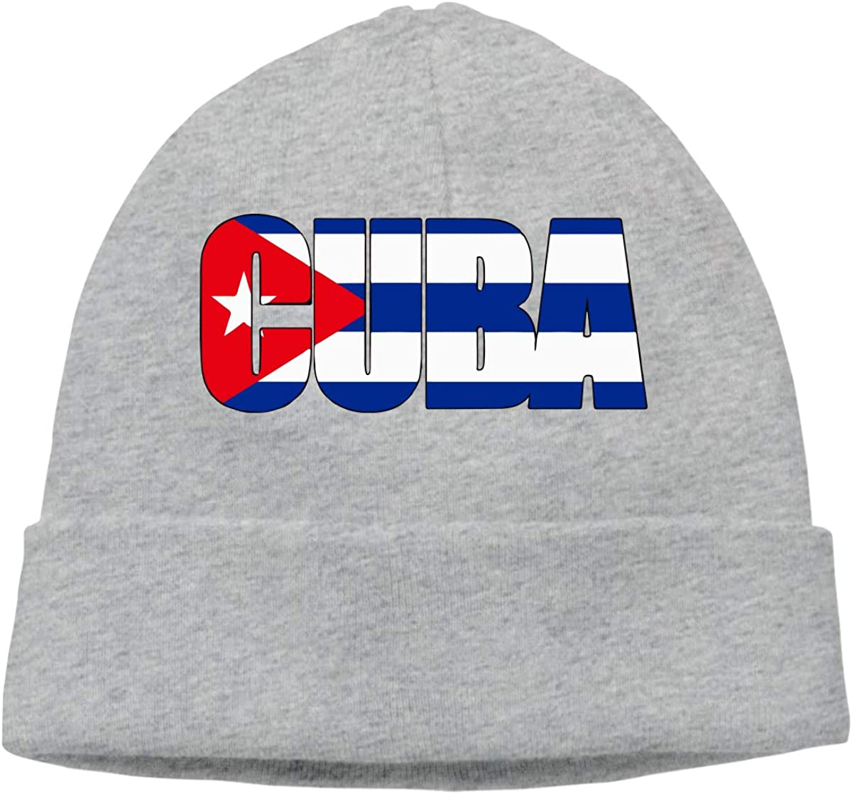 Stretch Skiing Cap BF5Y3z/&MA Unisex Cuba Text with Cuba Flag Knitting Hat