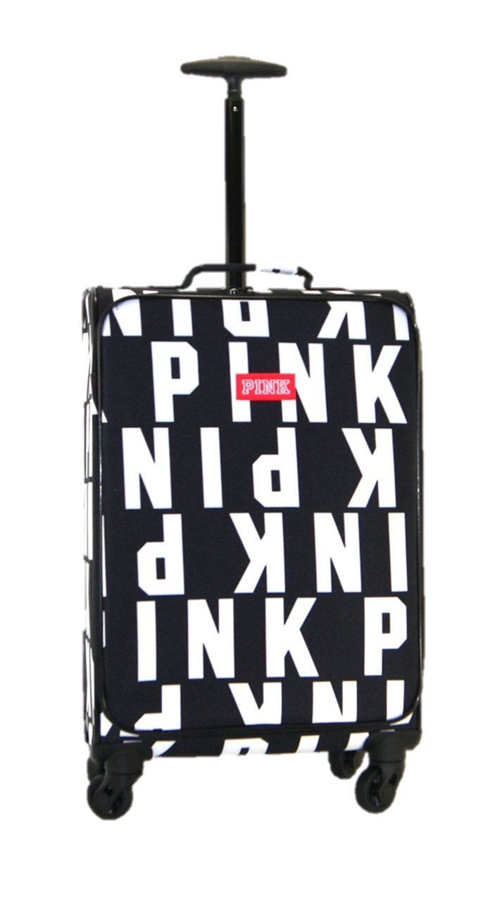 Victoria's Secret PINK NATION Suitcase Carry on Wheelie Travel Luggage Black & White