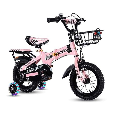 HUANJIA Bicicleta para niños de 14 Pulgadas para niñas de 3 a 8 ...