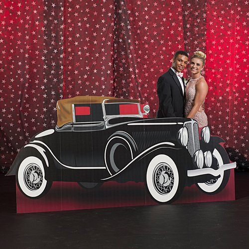 4 ft. 4 in. Vintage Hollywood Movie Star Car Standee Standup Photo Booth Prop Background Backdrop Party Decoration Decor Scene Setter Cardboard Cutout