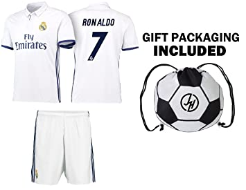 JerzeHero Ronaldo  7 Juventus Real Madrid Soccer Gift Set ✓ Youth or Adult  Sizes ✓ Soccer Jersey ✓ Shorts ✓ Ball Drawstring Bag ✓ Home or Away 3893f1dd7