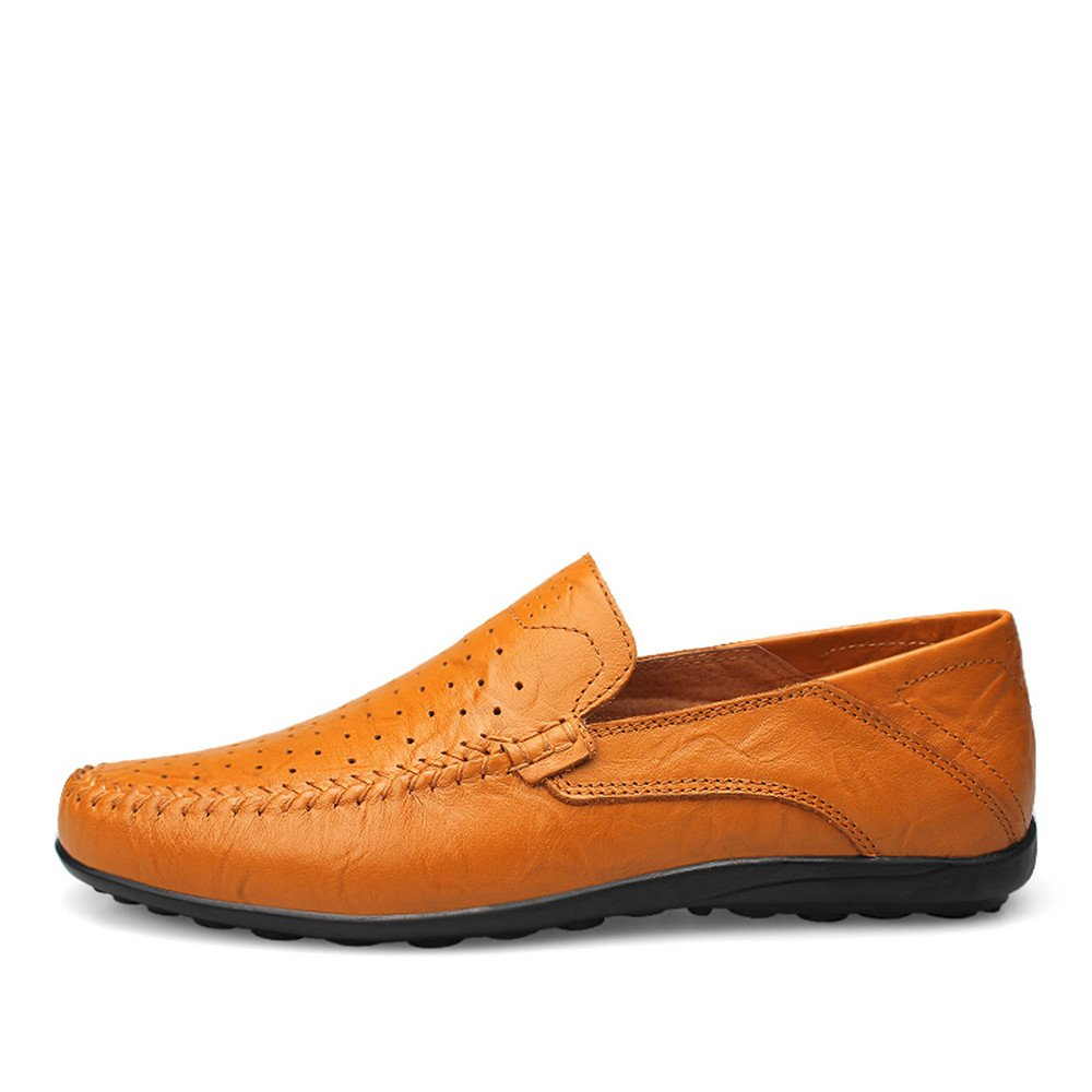 Xujw schuhe, 2018 Herren Mokassins Männer Mokassins Slip Slip Mokassins On Driving Loafer Mode Design Weichen Casual Slipper (Farbe : Yellow Braun Hollow Vamp, Größe : 47 EU) 790468