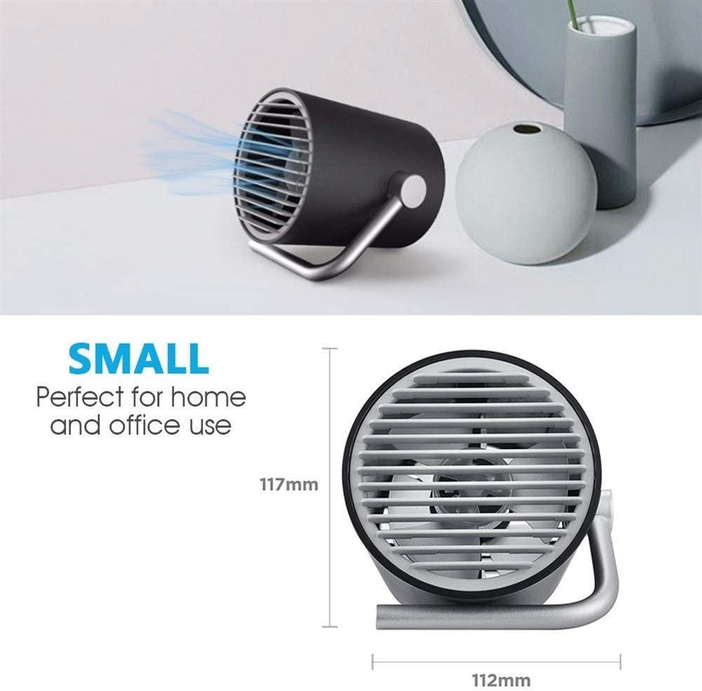 Color : USB White Fan Mini Portable Cooling Fan Portable USB Desk Fan Mini Rechargeable Cooling Fans Quiet 2 Speed Mode for Home Office Outdoor