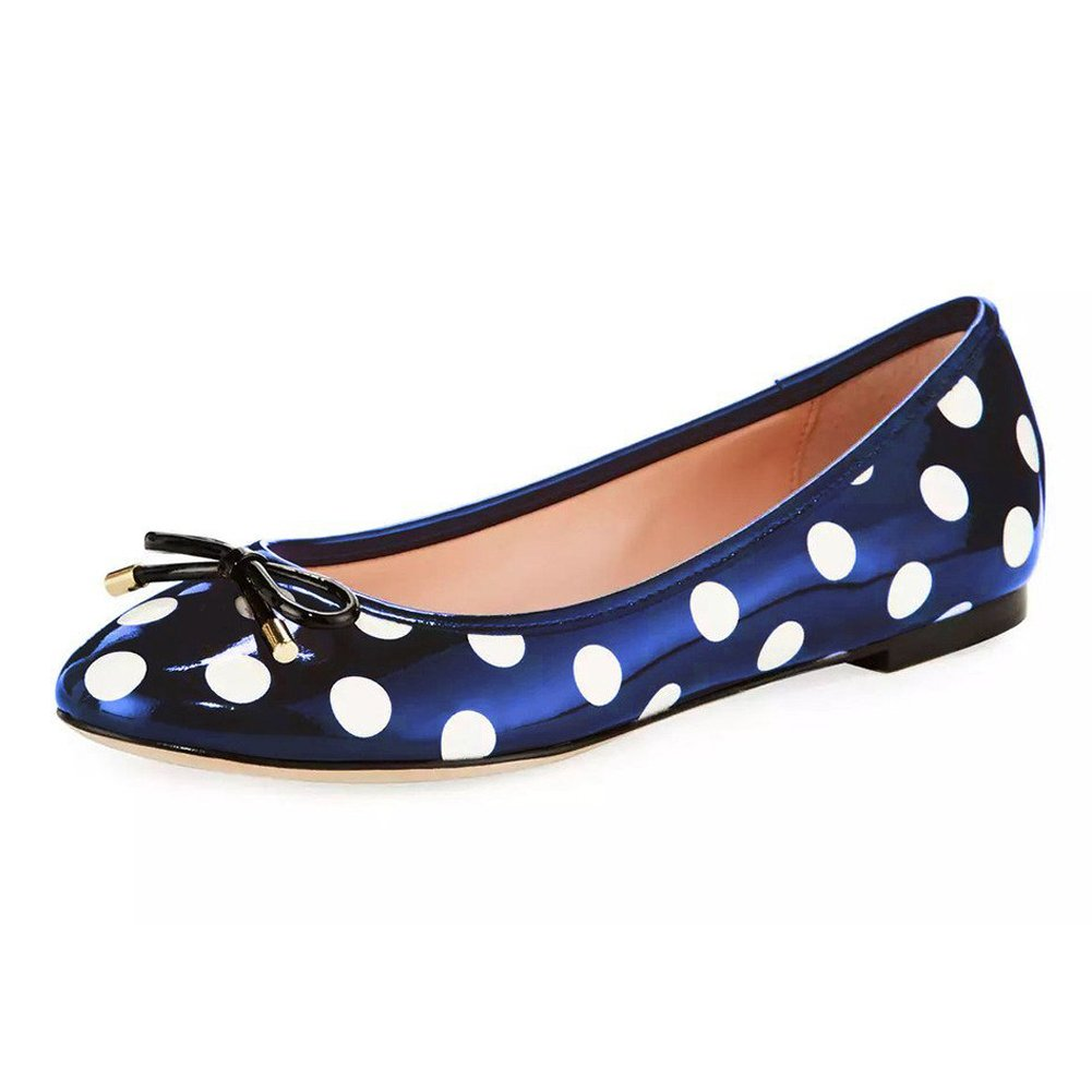 Joogo Women Round Toe Ballet Flats with Bow Tie Slip On Casual Comfortable Shoes Blue Spot Size 10