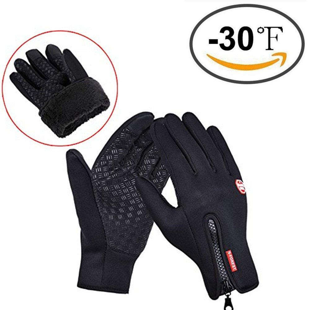 Guantes de invierno, Cotop Deportes al aire libre para mujer y hombres Warmer guantes de pantalla táctil con cremallera para Smart Phone (Negro, Large) CotopDirect