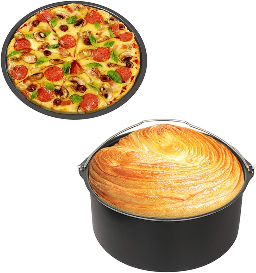 HOMEACC Air Fryer Accessories Set of 2 with 8 Inch Cake Barrel&Pizza Pan Fit for All 2.75QT 3.7QT 5.3QT Standard Deep Fryers,Dishwasher Safe,Non-stick Backing