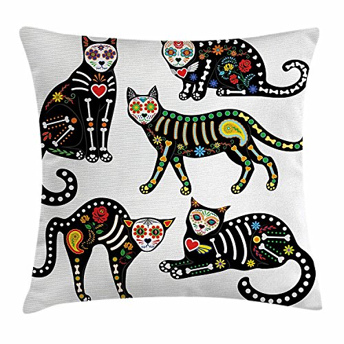 Newhomestyle Throw Pillow Cover Horrible Sugar Skull Calavera Ornate Black Cats in Mexican Style Holiday The Day of The Dead Cotton Home Decor Square Cushion Pillowcase 26x26 ()