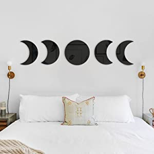 Moon Phases Mirror Set Bohemian Decor Scandinavian Natrual Black Wall Decoration Nordic Style Moon Wall Sticker Interior Design for Home Living Bed Room Nursery, Not Real Mirror
