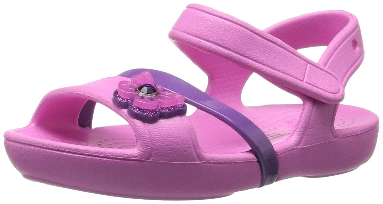 Crocs Girls Lina Sandal K Flat, Party Pink, 7 M US Toddler