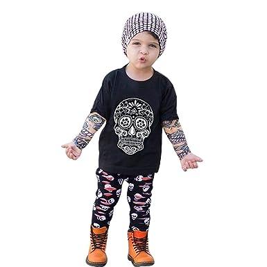 131b578c6d442 Oyedens Vêtements Enfants Ensemble Crâne Imprimer Vêtements Nouveau-Né Bébé  Garçon T-Shirt À