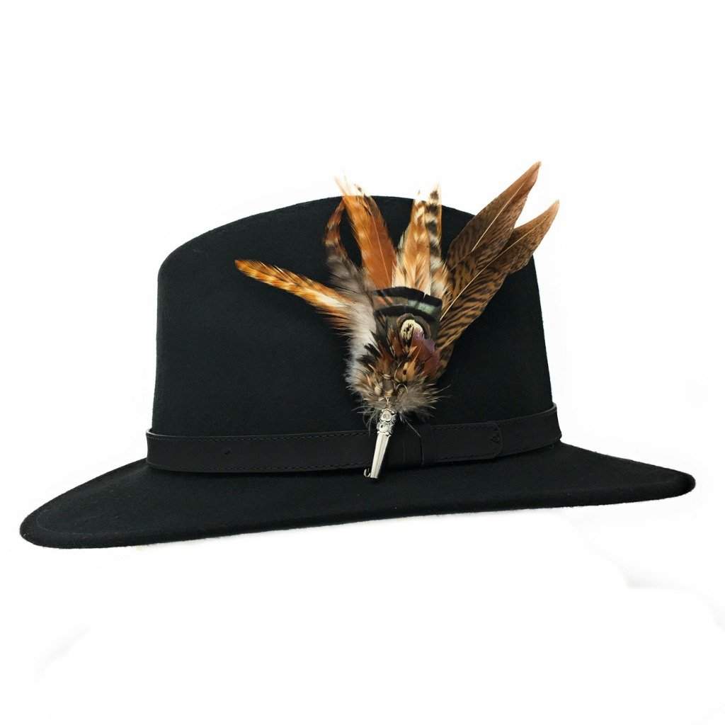Women's Wool Fedora Hat with Leather Belt Trim and English Country Feather Brooch (Black, Large - 59cm)