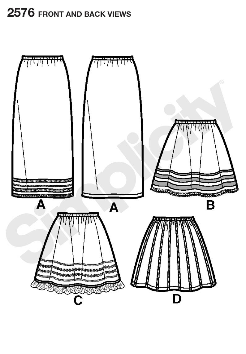 Simplicity Learn to Sew Pattern 2576 Girls Skirts Sizes 7-8-10-12-14