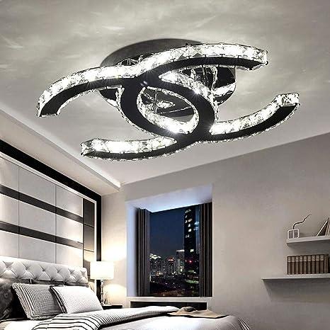 28W LED Deckenleuchte Moderne Einfache Romantische Wohnzimmer Esszimmer K9  Crystal Klar Deckenlampe Elegante Edelstahl Spiegel Lampe Creative Studie  ...