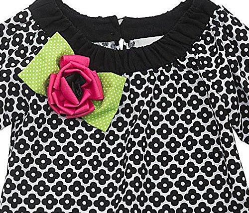 Rare Editions Counting Daisies Big Girls' Black Pink Eyelash Ruffle Cotton Dress, 12