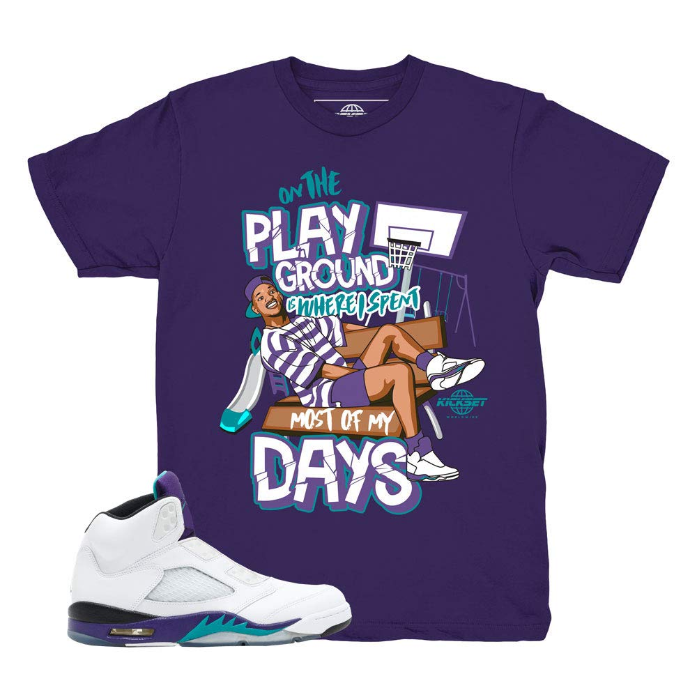 21c611db02e Grape 5 Fresh Prince Playground Purple Shirt to Match Jordan 5 Grape Fresh  Prince Sneakers | Amazon.com