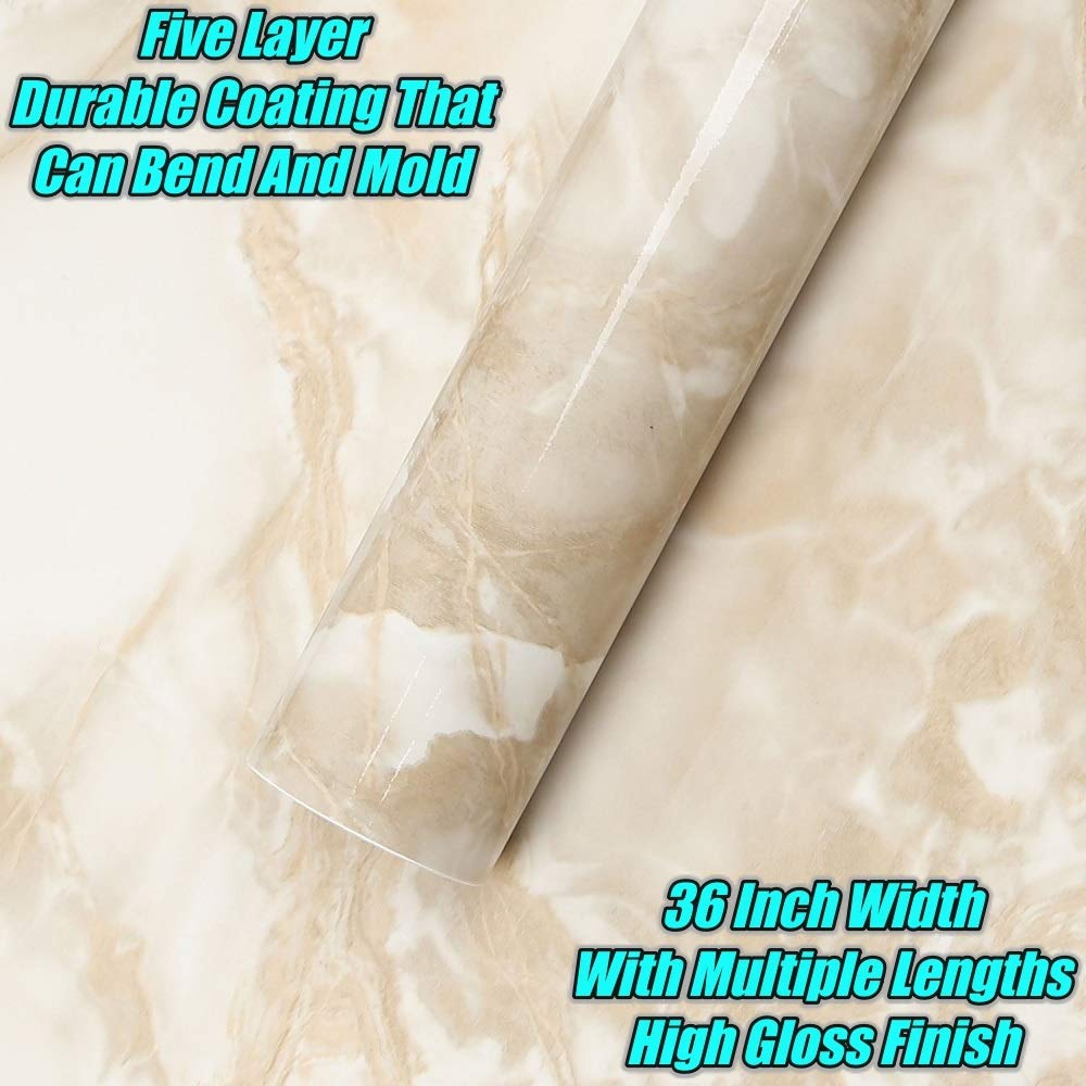 EZ FAUX DECOR 36'' W x 240'' L Decorative Peel and Stick White Riviera Creme Brulee Faux Marble Self Adhesive Counter Top Vinyl Film Update NOT Grandma's Contact Paper by EZ FAUX DECOR (Image #4)