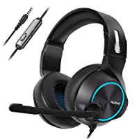 NUBWO N11 PS4 Xbox one Headset Stereo Wired Game Headset with Noise reduction Mic, Over Ear Headphones with Volume&Mute Control for MAC/Playstation 4/Xbox 1-Blue