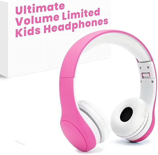 Volume Limited RICOV Kids Safety Foldable On-Ear Headphones with Mic, Volume Controlled at Max 93dB to Prevent Noise-induced Hearing Loss NIHL , 40mm High Clarity Drivers, Wired Earbuds, Pink