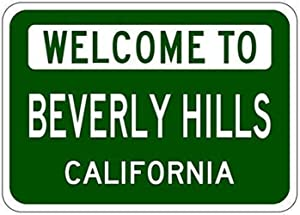 MAIYUAN Wall Decor Sign Beverly Hills, California - USA Welcome to Aluminum Metal Sign 8x12 INCH (BBM4039)