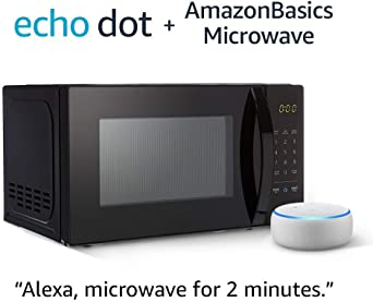 AmazonBasics Microwave bundle with Echo Dot (3rd Gen) - Sandstone