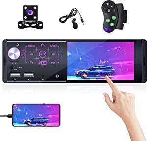 Bluetooth Car Audio Receiver Single Din Car Stereo 4 Inch Touch Screen in Dash Car Radio with FM & Phone Mirror Link Double USB Input + Backup Camera
