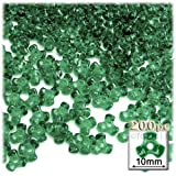The Crafts Outlet 200-Piece Plastic Transparent Tri Beads, 10mm, Emerald green