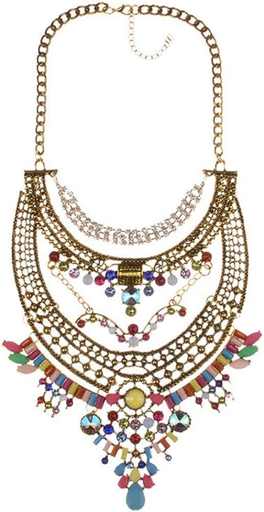 Colorido estilo vintage étnico colorido, decoración de piedra semipreciosa, bonito collar con incrustaciones