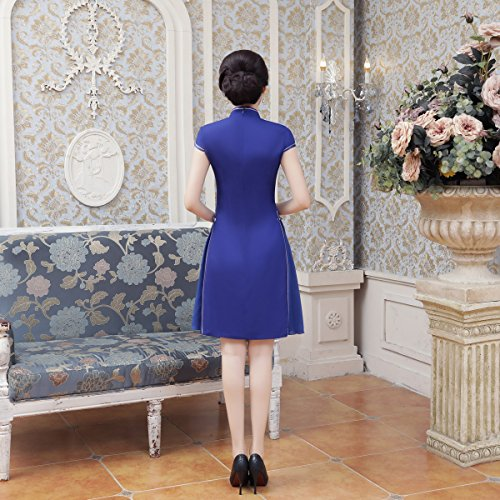 Cheongsam Damen Blumendruck Knielang Dress Blau Chinesisch ACVIP Bankettkleid Hz1vxqq