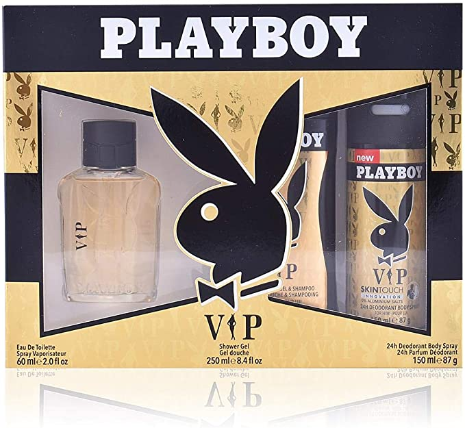 Playboy VIP para hombres- Set de Agua de Colonia 100 ml , Desodorante 150 ml y Gel de Ducha - 250ml: Amazon.es: Belleza