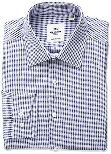 Ben Sherman Men's Diamond Check Spread Collar Dress Shirt