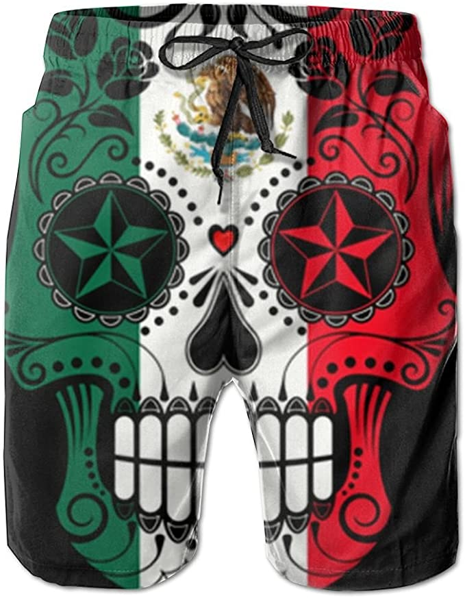 Fashion Mens Sugar Skull USA Flag Beach Shorts Board Shorts Casual Shorts Swim Trunks