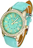 Geneva Women's Leather Band Roman Rhinestone Quartz Wrist Watch Watches