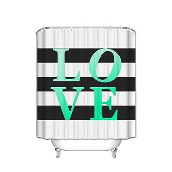 Mint Love Badezimmer Dusche Vorhang Custom Made, schwarz Stripe Art ...