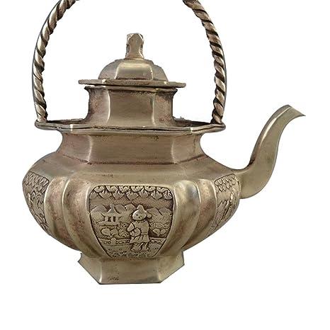 Tetera de cobre artesanía de bronce antiguo de la decoración del hogar Adornos tallado retro viga Hexágono cobre hervidoras: Amazon.es: Hogar