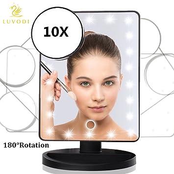 LUVODI Kosmetikspiegel Mit 22 LED Lichter U0026 Touchscreen Dimmbar Und  Abnehmbaren 10 Fach Vergrößerungsspiegel,