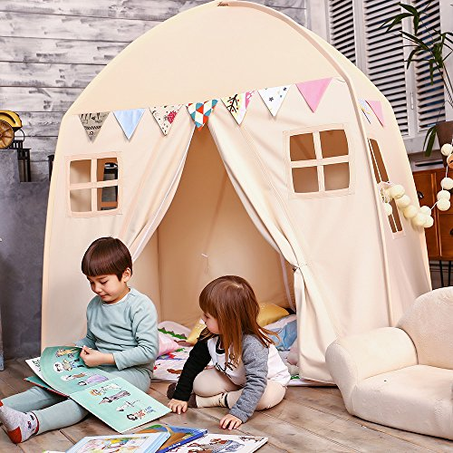 Love Tree Kids Play Tent Castle Large Teepee Tent for Kids Portable Playhouse Children House for Indoor Outdoor Use with Carry Bag for Boys and Girls Beige