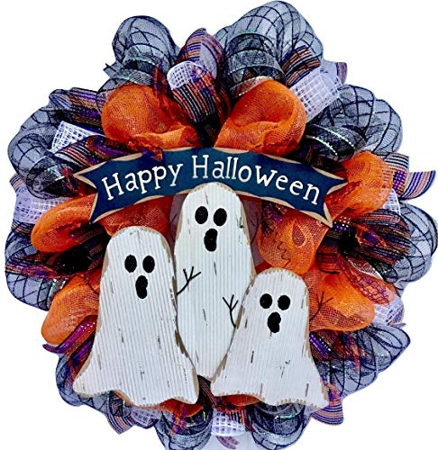 (Halloween Ghostly Trio Deco Mesh Wreath)