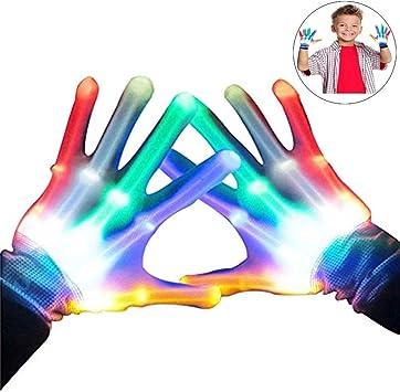 Guanti LED Colorati Dito Regali Compleanno Bambini per Party,Sport,Festival Bianco WISHBB Guanti LED Colorati Giocattoli per Ragazzi Ragazze
