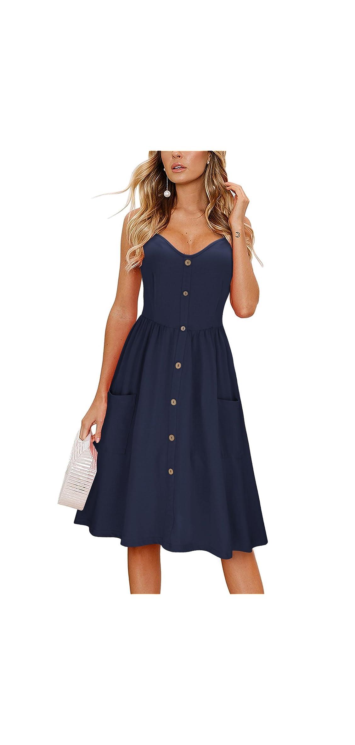Women's Summer Sundress Spaghetti Strap Button Down Dress