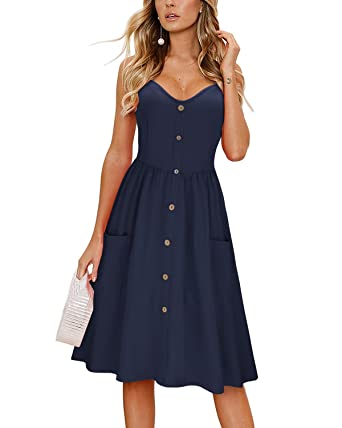 444235b32ad9 KILIG Women's Summer Dress Spaghetti Strap Button Down Sundress with Pockets(Navy  ...