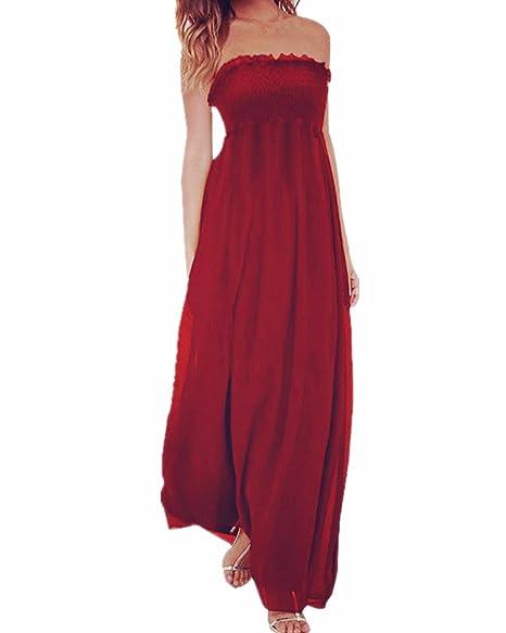 fd0d2c5be98 StyleDome Women s Chiffon Elegant Prom Strapless Off Shoulder Long Maxi  Beach Summer Party Dress Casual Sundress
