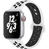AIGENIU コンパチブル Apple Watch バンド、2個留め具の多空気穴通気性 シリコン スポーツ バンド Compatible for アップルウォッチ バンド 38mm 40mm 42mm 44mm iwatch Series 4/3/2/1に対応 S/M M/L サイズ (42/44mm SM, 白&ブラック)