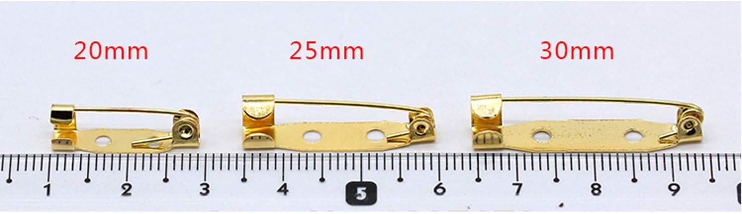 Lot de 100 broches de 20//25//30 mm en m/étal avec base arri/ère pour fabrication de bijoux 100Pcs 20mm bronze