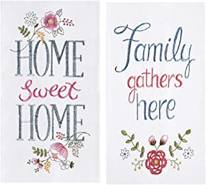 C&F 2 Piece Kitchen Bundle - 2 Embroidered Flour Sack Towels, Home and Family